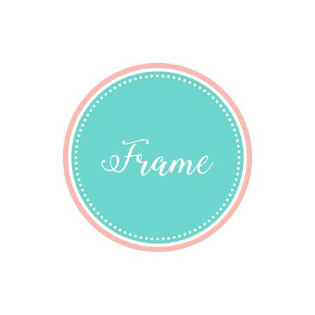 Circle Frame Border with Pastel Color for bakery candy shop invitation for kids design element Çizim