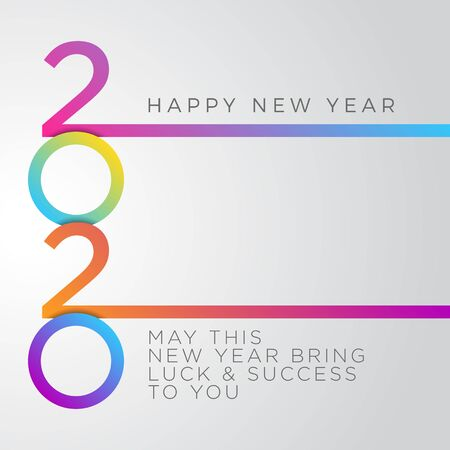 Modern Happy New Year 2020 Greeting Cards for Company or Personal Usage with Colorful color