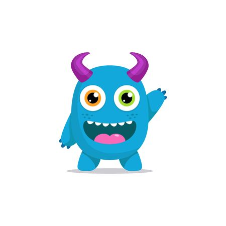 Cute Monster Character Cartoon Mascot Clipart Vector illustration for Shirt Halloween Home Decor Sticker Children Kindergarten Wall with Colorful and Friendly Face