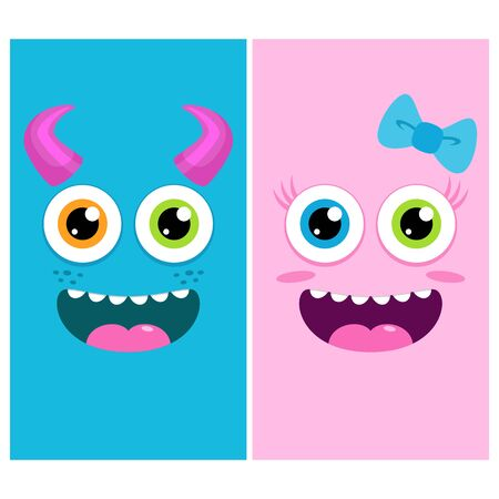 Cute Monster Character Cartoon for Wallpaper Theme Smartphone Mobile Phone Shirt Halloween Home Decor Sticker Children Kindergarten Wall with Colorful and Friendly Face 向量圖像