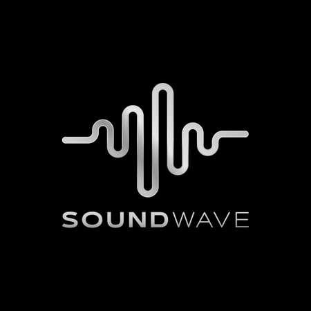 Sound silver Wave Design Icon Symbol Template for Music Studio , DJ, Music Producer, Speech Trainer, Speaker motivator Website