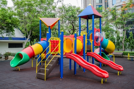 jungle gyms: Colorful childrens playground at public park ,Bangkok