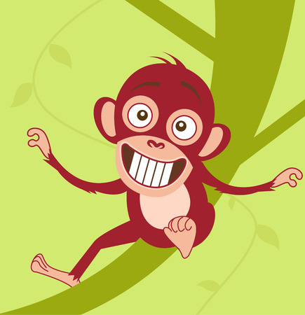 Cute baby monkey sitting on a tree   Vector