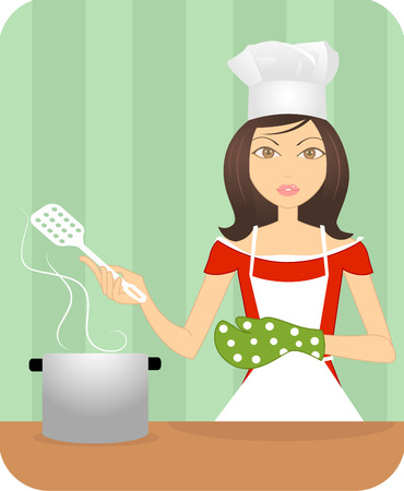 An attractive young lady cooking in the kitchen wearing glove   Vector