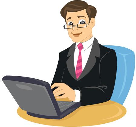 Un hombre de negocios en traje y corbata, sentado en la silla de trabajo en equipo portátil  Ilustración de vector