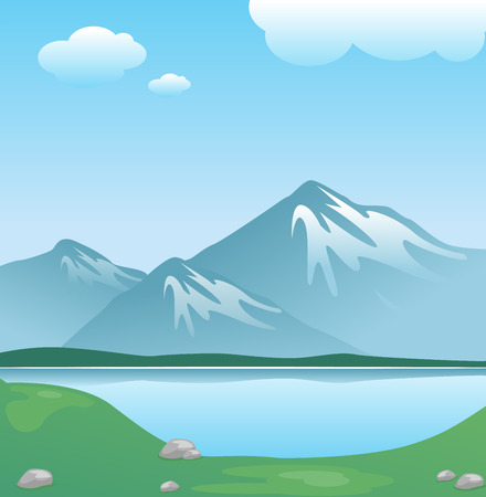Snowy mountain with clouds and lake with grass