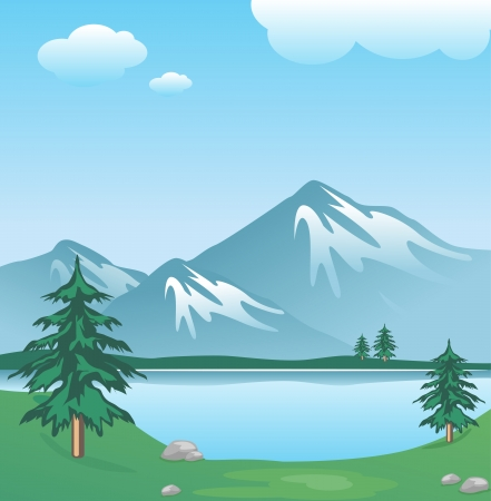 boulders: Snowy mountain with clouds, lake, trees and grass