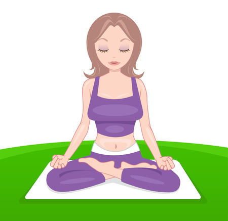 mujer estres: Dama atractiva en ropa p�rpura sentado en posici�n de yoga