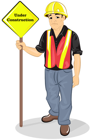 Construction worker with hard hat and under construction sign Stock Illustratie