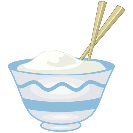 Illustration of boiled long grain rice in a blue bowl with wooden chopsticks isolated
