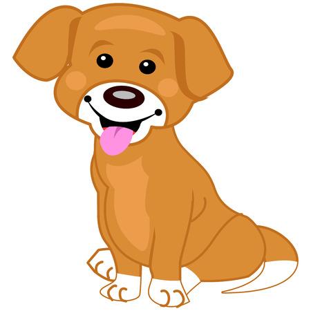 白い背景の上に座ってかわいい茶色犬のイラスト  イラスト・ベクター素材