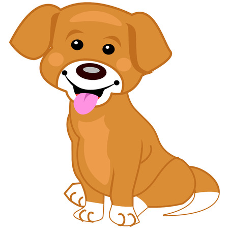Illustration of a cute brown dog sitting on white background