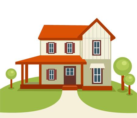 Casa moderna con árboles y hierba. Inmobiliaria o construcción