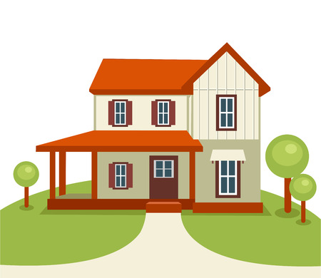 Modern house with trees and grass . Real estate or construction  Vector