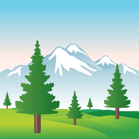 Illustration of beautiful snowy mountain with sky, trees and grass in vector format  Stock Illustratie