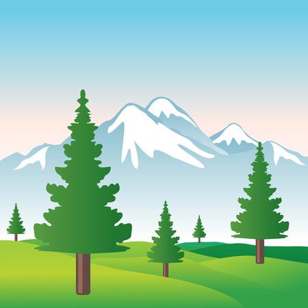 mountain meadow: Ilustraci�n de bella monta�a Nevada con cielo, �rboles y c�sped en formato vectorial