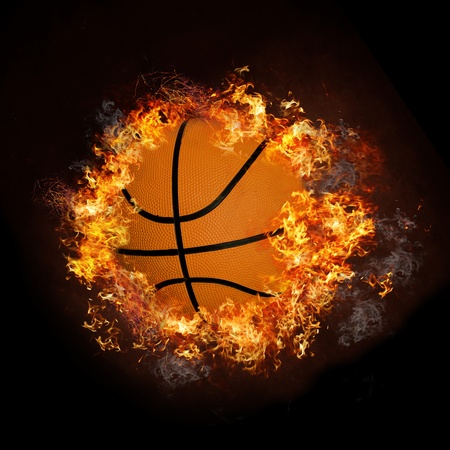 basketball shot: Basketball on fire