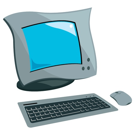 pc monitor: design of computer set of mouse, keyboard and monitor Illustration