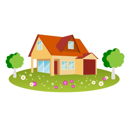 House design with flowers and trees