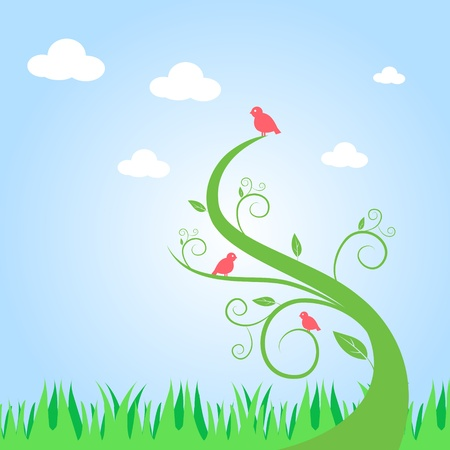curve: Abstract Tree and Birds Illustration Illustration