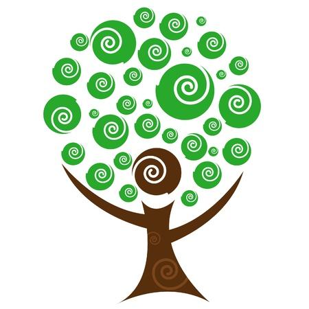 Abstract Person Tree Illustration 일러스트