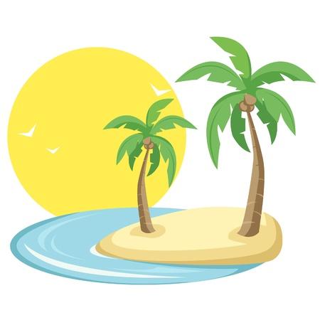 Tropical Island Illustration Illustration
