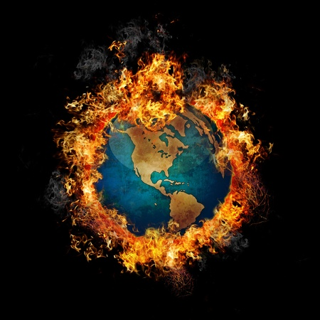 asia globe: Fire Globe Stock Photo