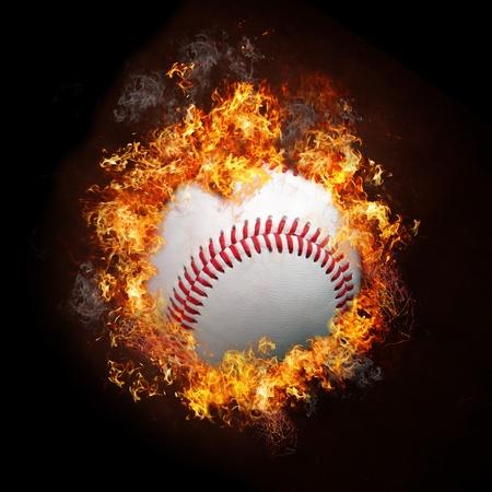 Fire Baseball Banque d'images
