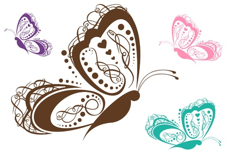 Colorful Scroll Butterfly