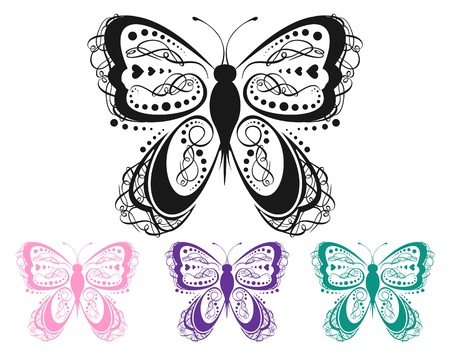 Colorful Scroll Butterfly Vector