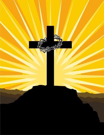 j�sus croix: Croix et couronne d'�pines