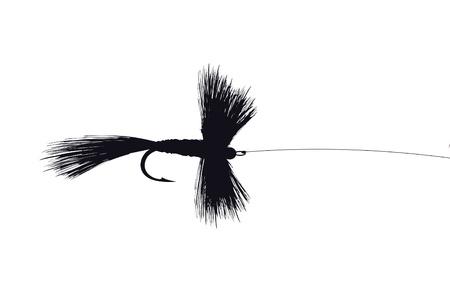 フックとラインの釣りフライ ルアー ベクトル図