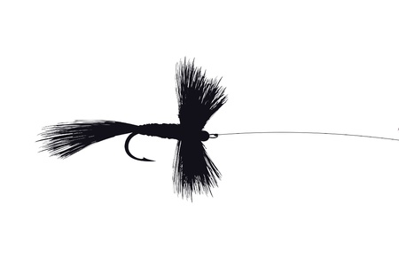 trout fishing: Fishing Fly Lure vector illustration with hook and line