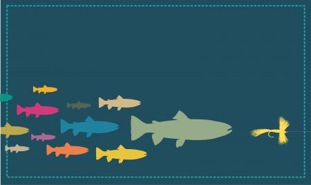 色と釣りのルアーを追う現代の魚フライします。  イラスト・ベクター素材