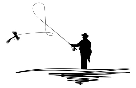 casts: Cartoon illustration of a silhouetted man casting a fishing fly