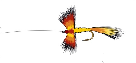 フックとラインのカラフルな釣りを飛ぶイラスト