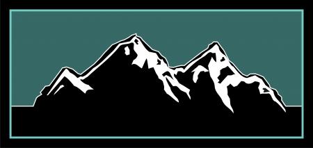 neve montagne: Elemento Logo per un logo montagna all'aria aperta Vettoriali
