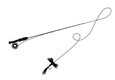 fluga: Silhouette illustration av ett fiskespö och flyga drag Illustration