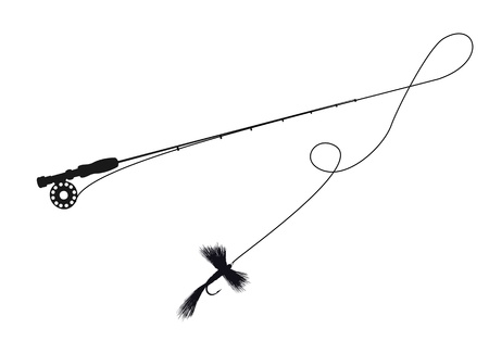 baits: Silhouette illustration of a fishing rod and fly lure Illustration