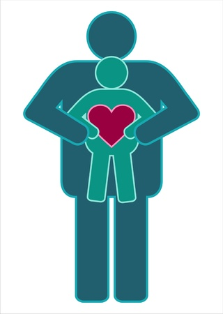 Adult and child icon holding heart  Vector Illustration Vector