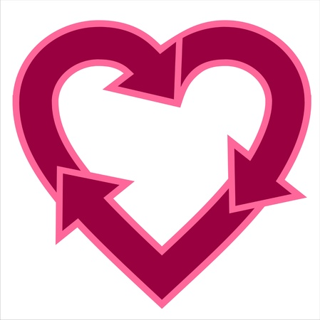 recycle symbol: Heart-shaped recycle logo Illustration