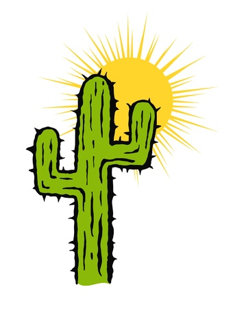 Isolated Cactus and Sun Vector Illustration