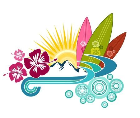 surf board: Tabla de Surf Dise�o Ilustraci�n Vectores