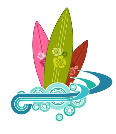 Surfboard Illustration Design Vector