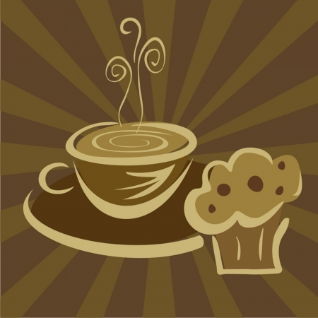 coffee beans: Breakfast coffee and muffin  Illustration