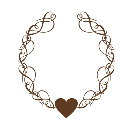 Heart Scroll Wreath Vector