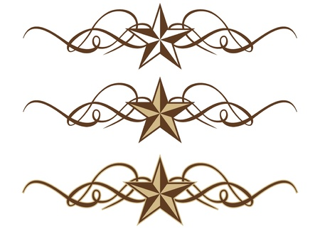 Three Western Star Scrolls in Format Stock Vector - 15820810