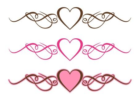 Hearts Scrolls Illustratie Stock Illustratie
