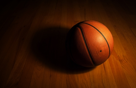 Basketball in dark background