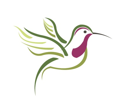 Isolated abstract humming bird in white background Vettoriali